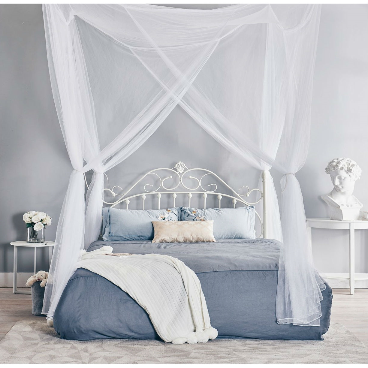 White Four Poster King Bed White 4 Post Bed Netting Mosquito Net For Canopy Beds Fits Size Full Queen And King