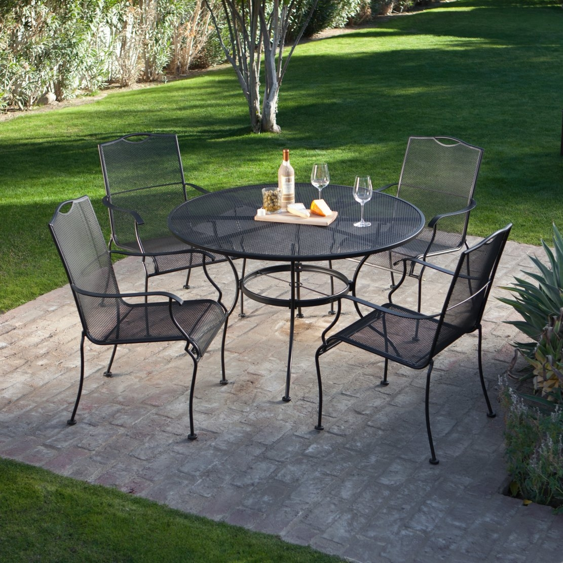 Outdoor Patio Furniture Dining Table 5 Piece Wrought Iron Patio Furniture Dining Set Seats 4