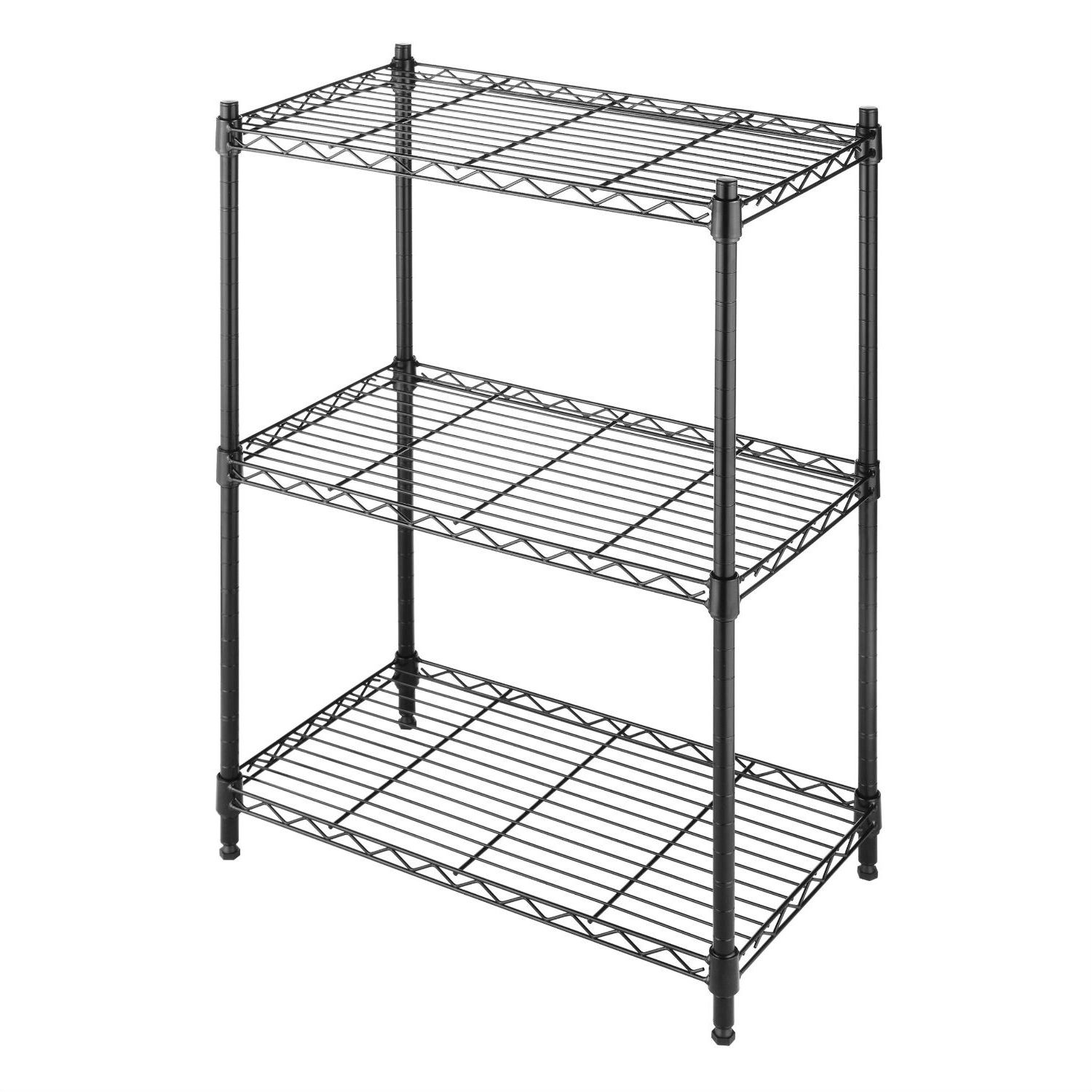 Storage Racks Small 3 Shelf Storage Rack Shelving Unit In Black Metal With Adjustable Leveling Feet