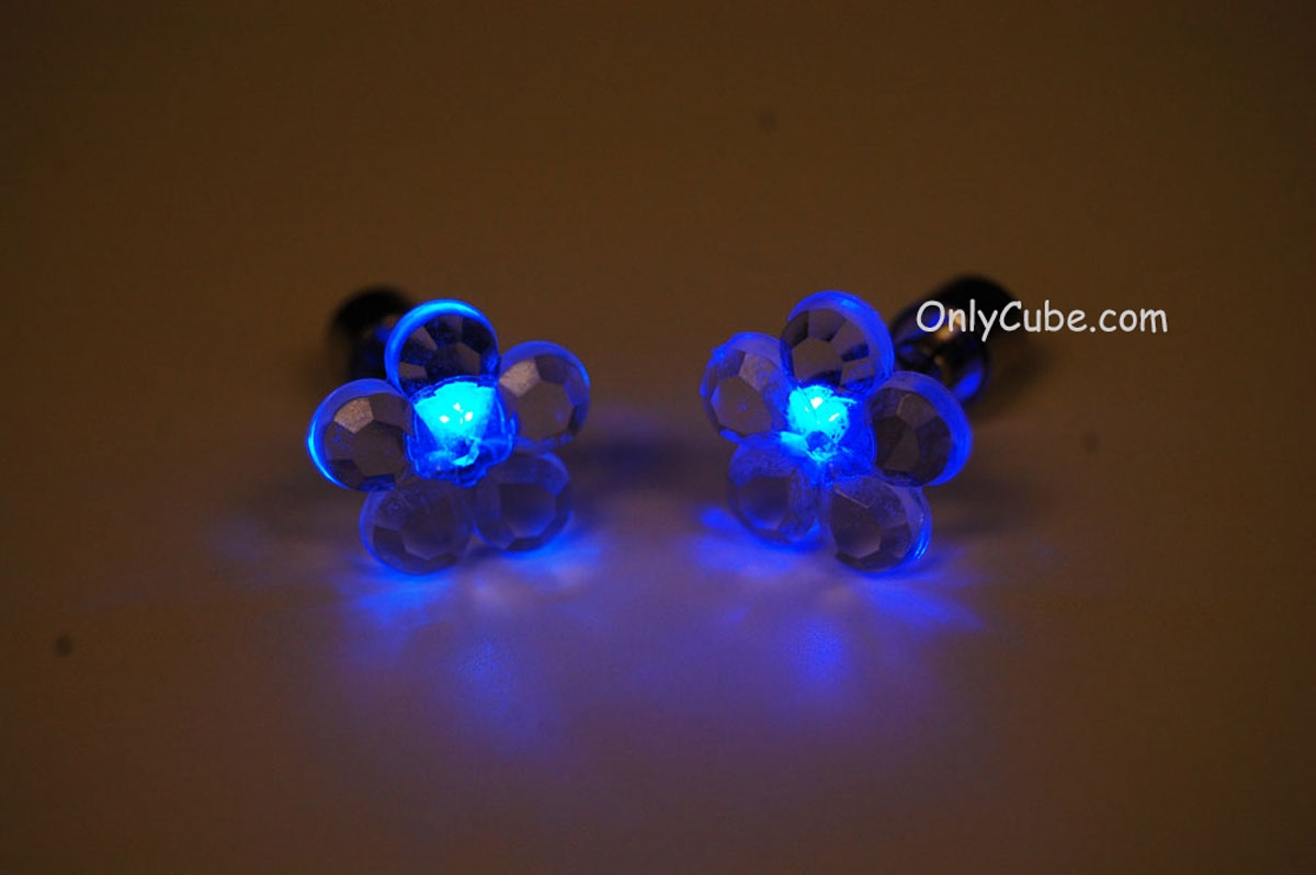 Led Earrings Blue Led Light Up Flower Shape Stud Earrings