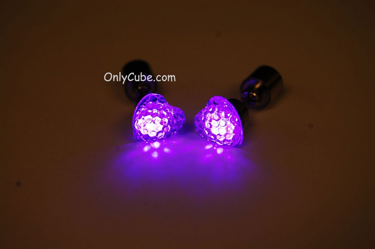 Led Earrings Purple Led Light Up Heart Shape Stud Earrings