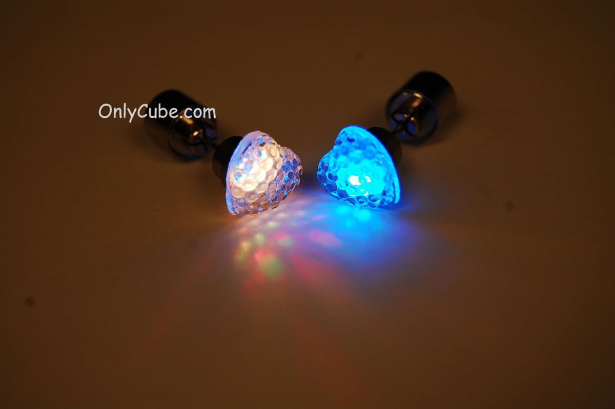 Led Earrings Multicolor Led Light Up Heart Shape Stud Earrings