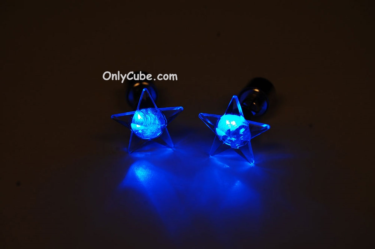 Led Earrings Blue Led Light Up Star Shape Stud Earrings