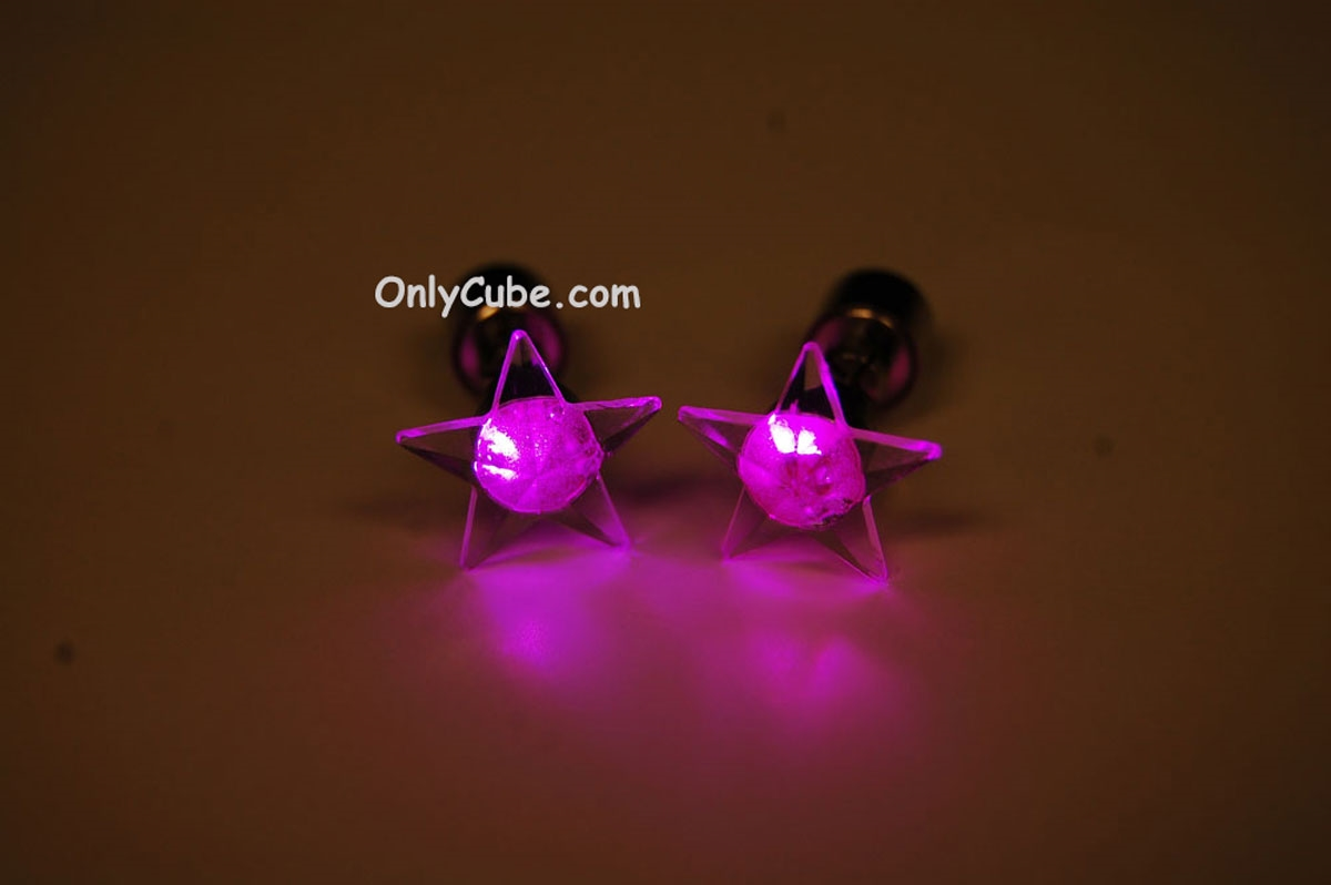 Led Earrings Pink Led Light Up Star Shape Stud Earrings