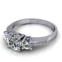 Three Stone Engagement Ring with Diamond and Milgrain ...
