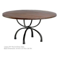 Legacy Handcrafted 60-in Dining Table | Iron Base