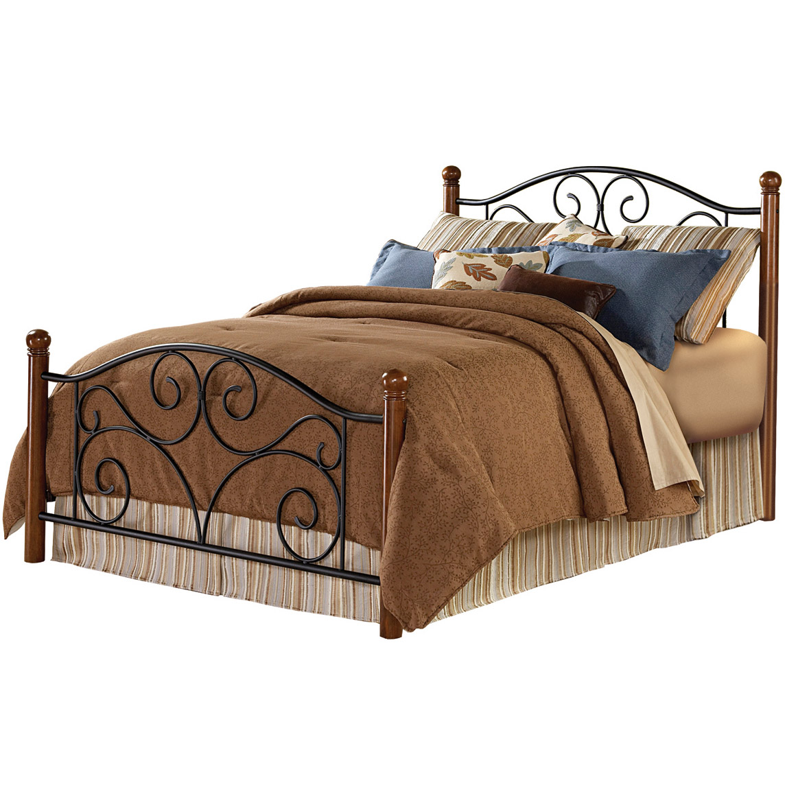 King Bed With Posts Doral Iron Bed Matte Black Finish And Wooden Walnut Posts