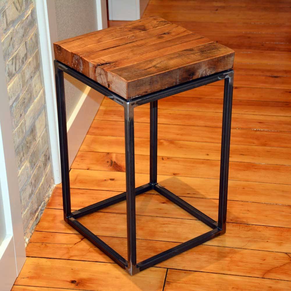 wood and metal end table -  small end table with download