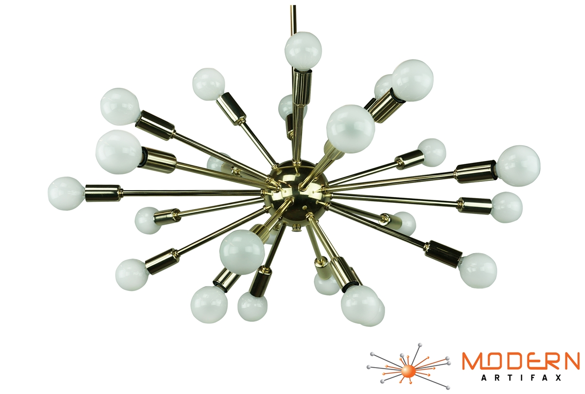 Satellite Brass Sputnik Chandelier Foyer 18 Light Small Society Brushed Nickel Flush Mount