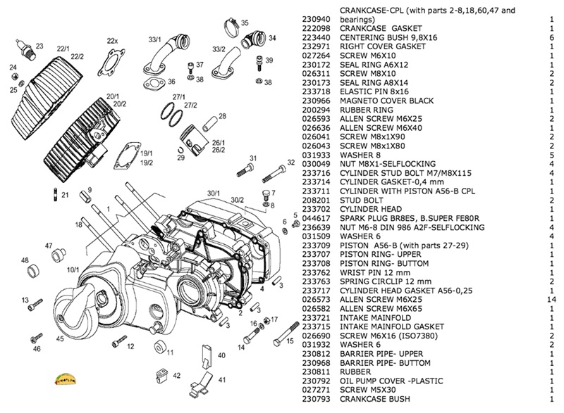 tomos OEM A55 engine crankcase set
