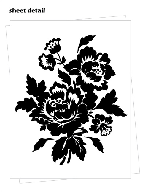 Black Pink And Silver Wallpaper Baroque Floral Pattern Wall Decals