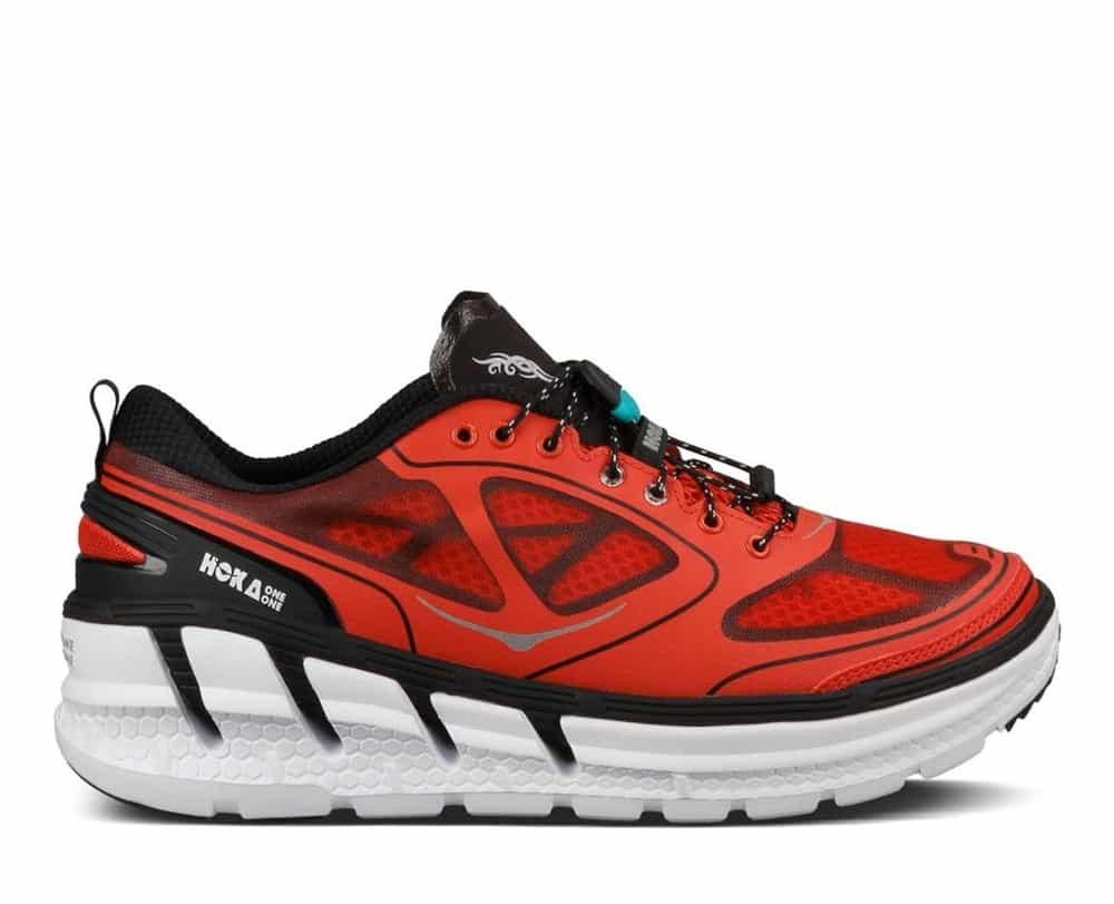 Men39s Hoka Conquest Tarmac Shoes Fiery Red Black