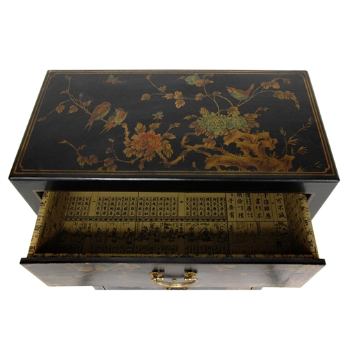 Urban Home Sofa Bed Asian/oriental Black Lacquer 5 Drawer Chest