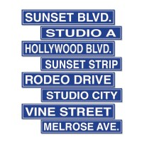 Hollywood Street Sign Cutouts (4/pkg) - PartyCheap