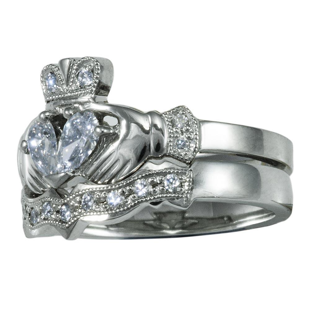 clzkw claddagh wedding ring set