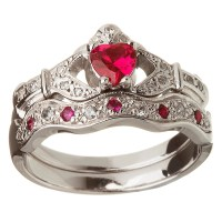 14k White Gold Ruby Set Heart Claddagh Ring & Wedding Ring Set