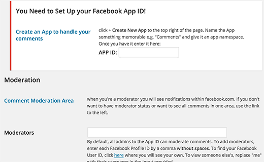 Facebook comments plugin 's settings page