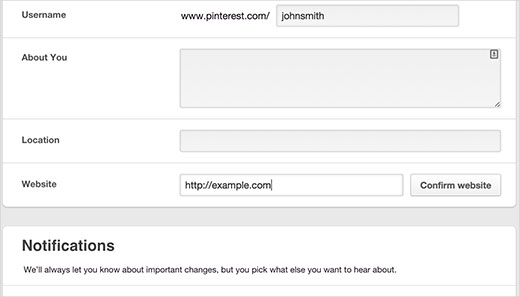 Adding your website to Pinterest