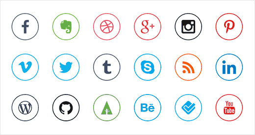 20 Social Media Icons by Dawid Dapszus