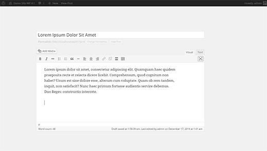 Default WordPress distraction free mode