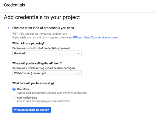 Add credentials to your web app