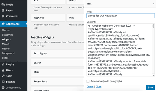 Signup form in widget