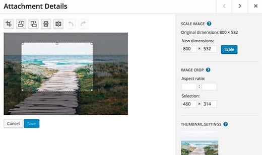 Editing images in WordPress