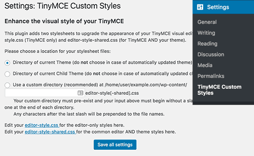 TinyMCE Custom Styles settings