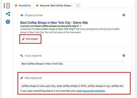 Adding meta keywords in Yoast SEO for WordPress