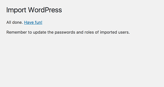 Successfully imported Weebly data into WordPress
