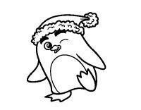 Disegno di Pinguino con il berretto di Natale da Colorare