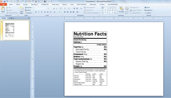 nutrition label template word xv-gimnazija