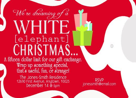 Party Invitations White Elephant At Mintedcom
