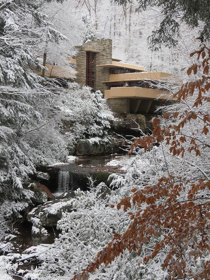 Frank Lloyd Wright Falling Water Wallpaper 9 Famous Architecture Covered In Snow During Winter