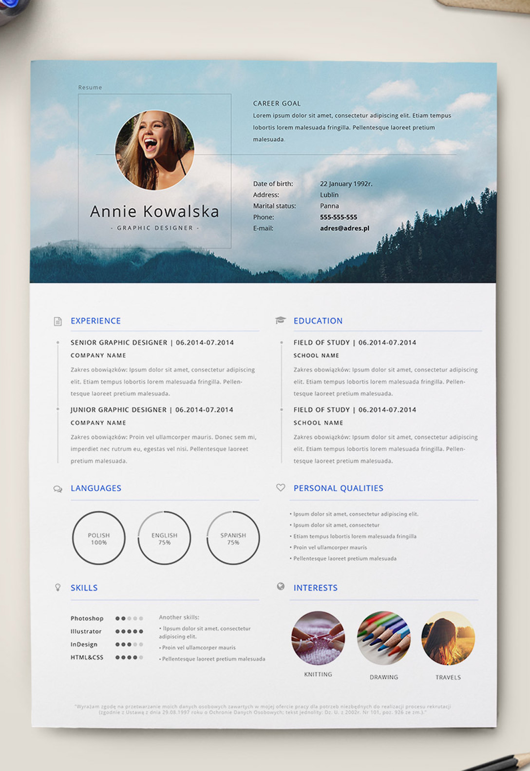 cv exemple indesign