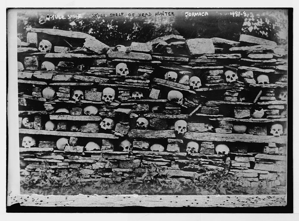 Skull shelf of head hunter, Formosa PICRYL