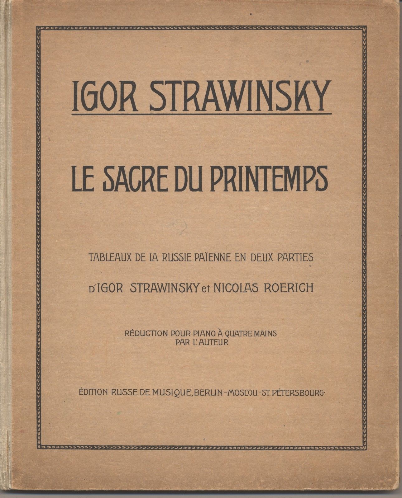 Le Sacre Du Printemps Music Score Of Le Sacre Du Printemps Igor Stravinsky With