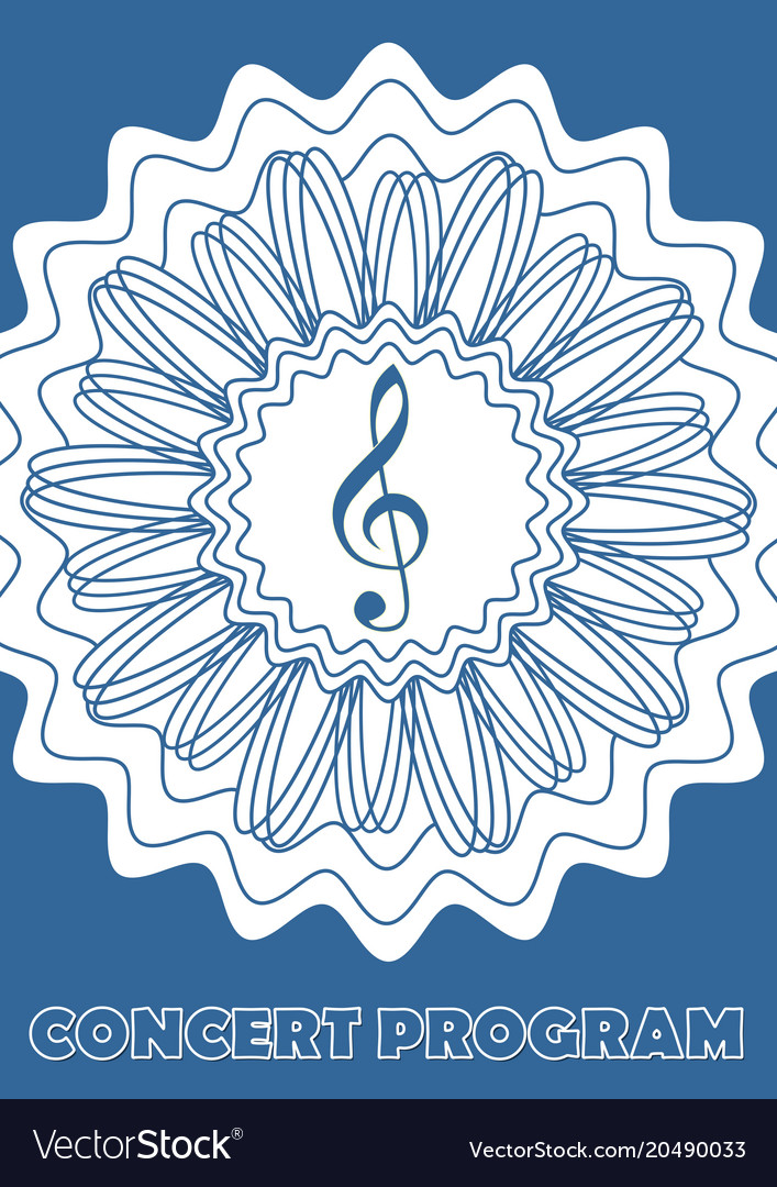 Concert program cover template with treble clef Vector Image - treble clef template