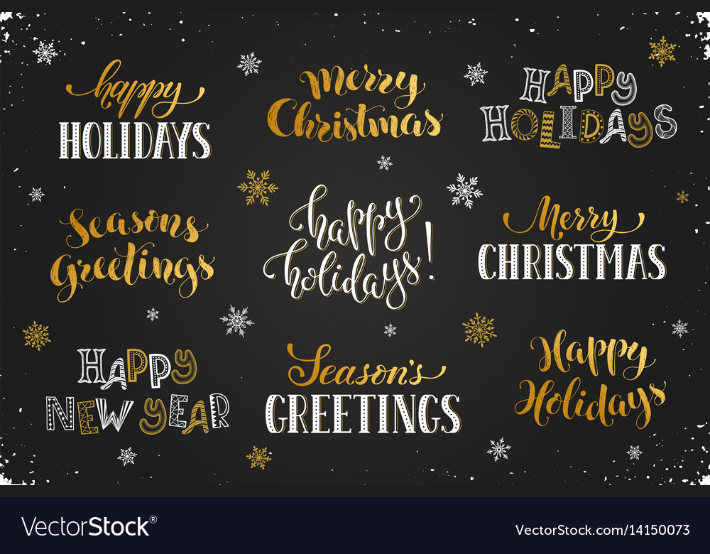 Happy holidays phrases Royalty Free Vector Image