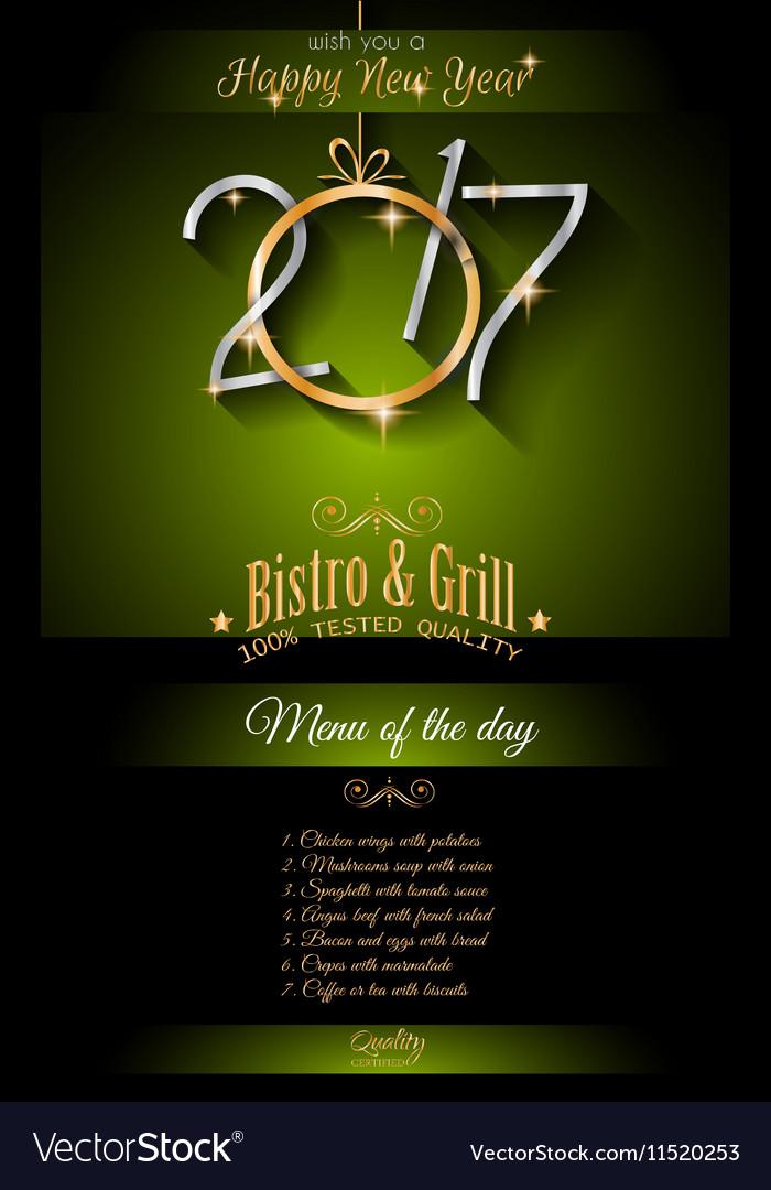 2017 Happy New Year Restaurant Menu Template Vector Image - 5 day menu template