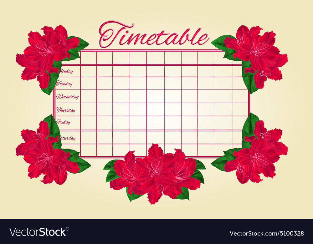 Timetable weekly schedule with red rhododendron Vector Image