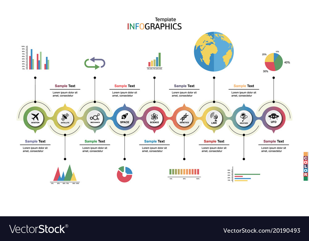 Infographic template science technology Royalty Free Vector