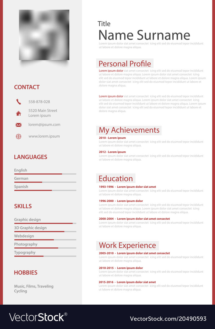 Professional red white resume cv design template Vector Image