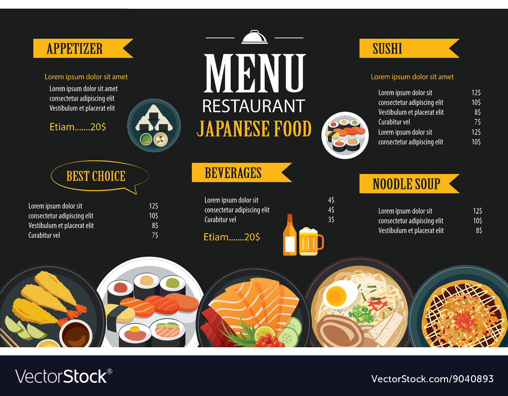 Japanese food menu restaurant brochure design Vector Image