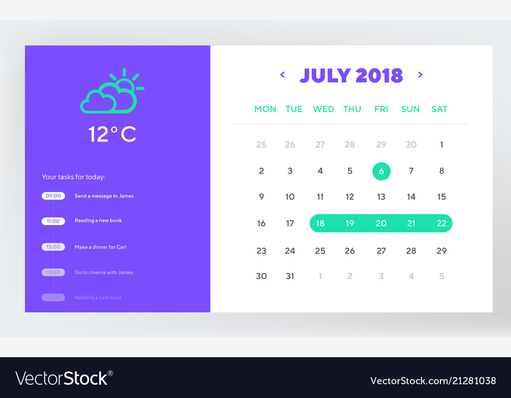 Calendar day planner and calendar app ui ux design