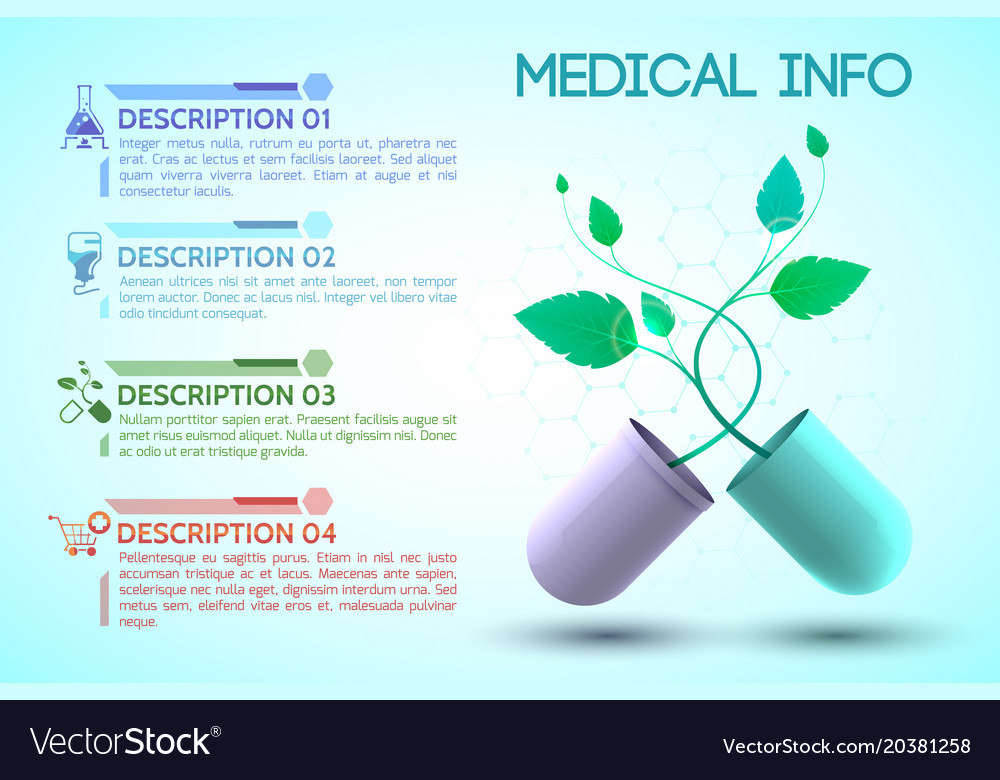 Medicine and treatment information poster Vector Image