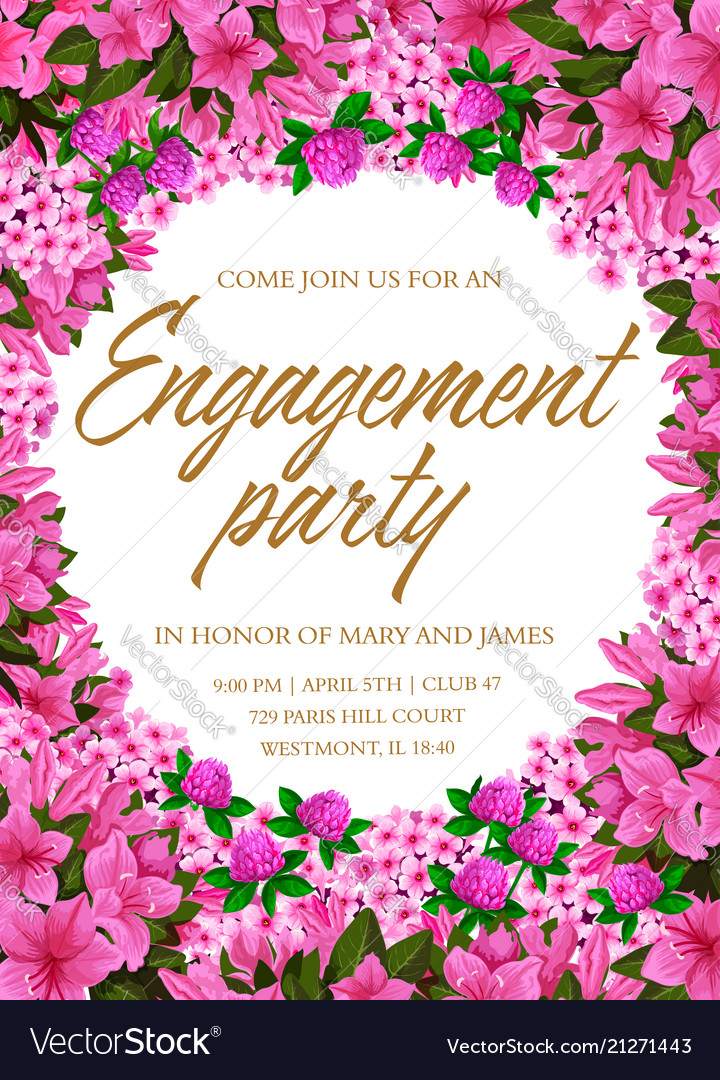 Engagement party invitation with pink flower frame