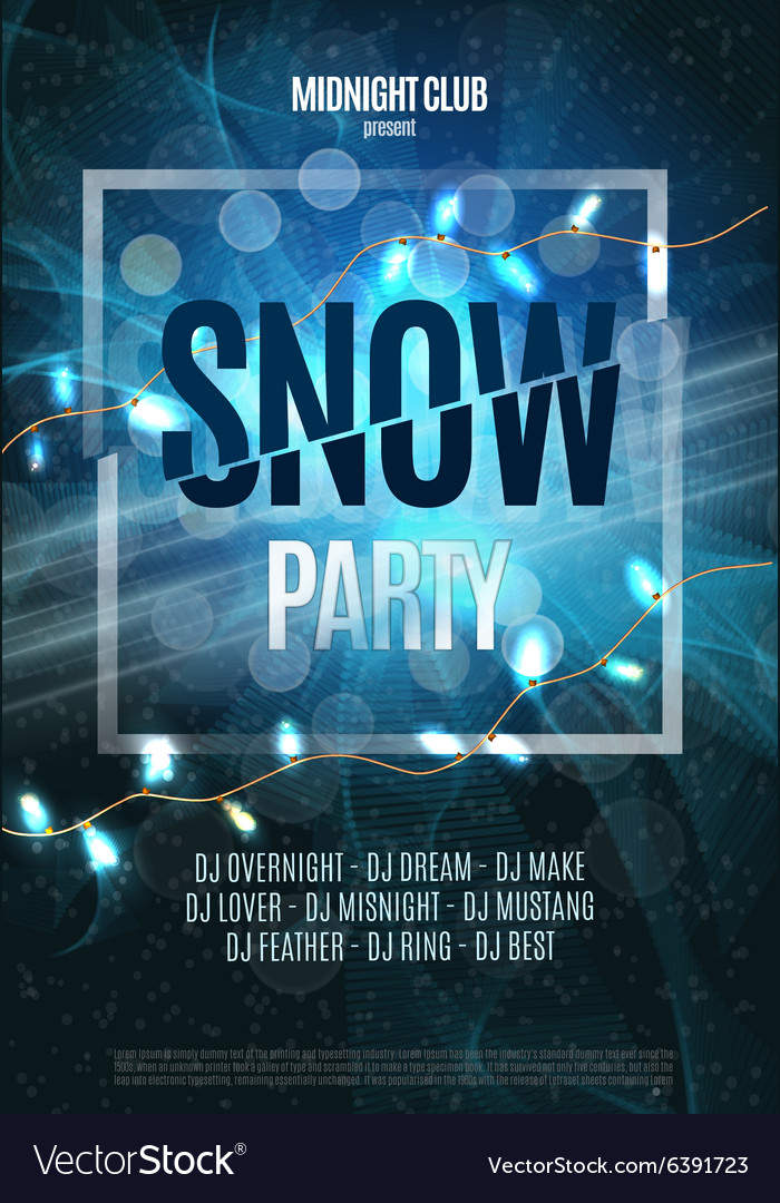 Snow Party Flyer Abstract Winter Poster Royalty Free Vector