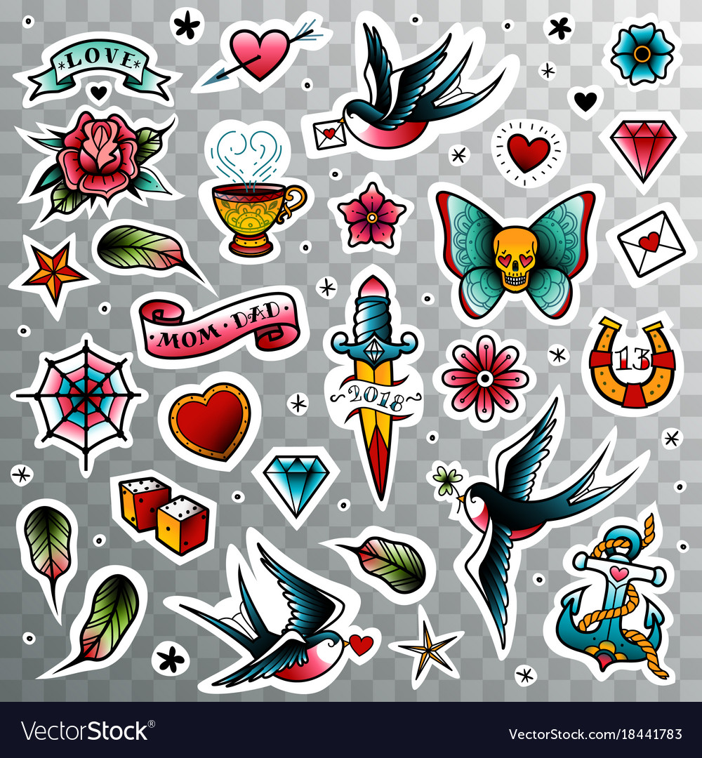 Hd Standard Wallpaper Old School Tattoo Set Royalty Free Vector Image