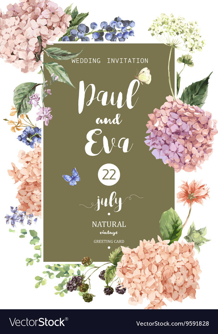 Wedding invitation with Hydrangea Royalty Free Vector Image